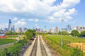 バック グラウンドでシカゴの鉄道道路 — ストック写真