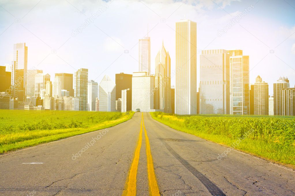American Country Road with City on the Horizon — Stock Photo #7315893