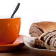 Strudel wit coffee — Stock Photo