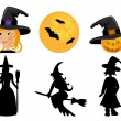 Set of witches — Stock Vector