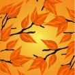 Seamless autumnal background with leaves of maple and ash trees — Imagen vectorial