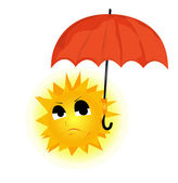 Vector image of the sun, which keeps the umbrella and the second — Stock Vector