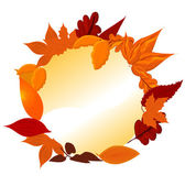 Round frame of autumnal leaves — Stock Vector