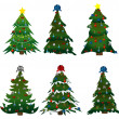Stock Vector: Set of Christmas trees on stickers
