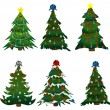 Set of Christmas trees on stickers — Stock Vector #7246860