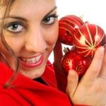 las chica y Navidad bolas — Foto de Stock   #6747519