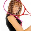 Royalty-Free Stock Photo: The girl and the tennis racket 008