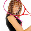 The girl and the tennis racket 008 — Stock Photo
