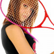 The girl and the tennis racket 011 — Stock Photo