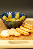 A bit of green olives as a starter — Stock Photo
