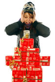 The joy at the gifts — Stock Photo