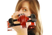 Woman with violin 007 — Stock Photo