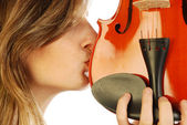 Woman with violin 031 — Stock Photo
