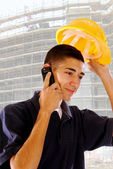 Workers on the phone in the pipeline — Stock Photo