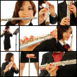 The beautiful flutist in concert — Stock Photo