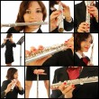 The beautiful flutist in concert - Stock Photo