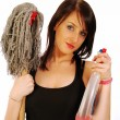 Woman at domestic workers — Stock Photo