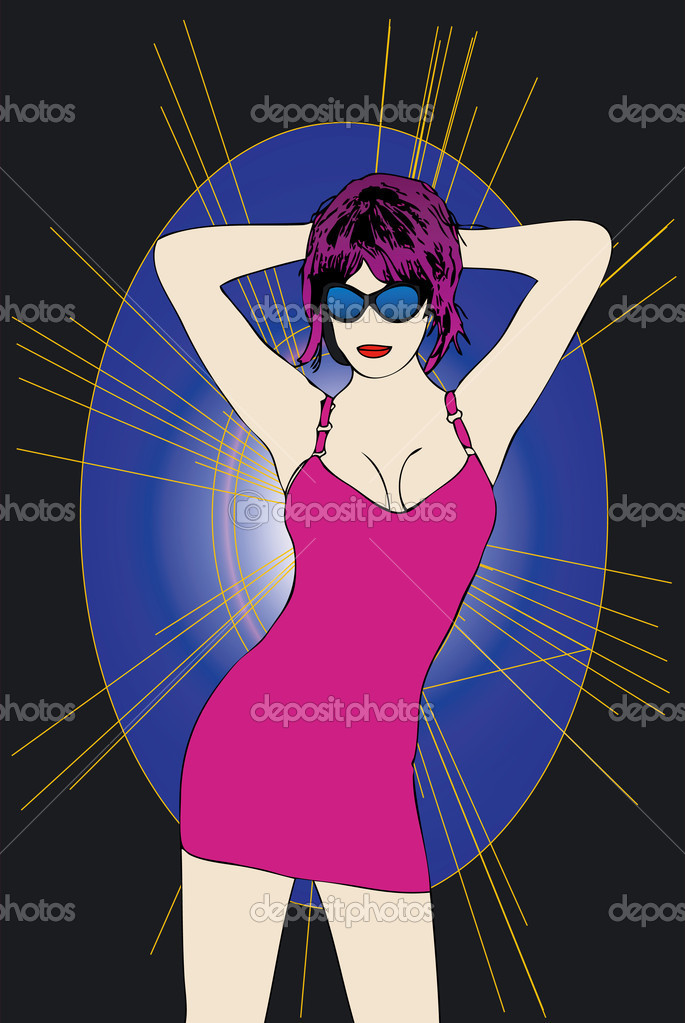 Woman with purple sheath dress dancing in a disco — Stock Photo #6825952