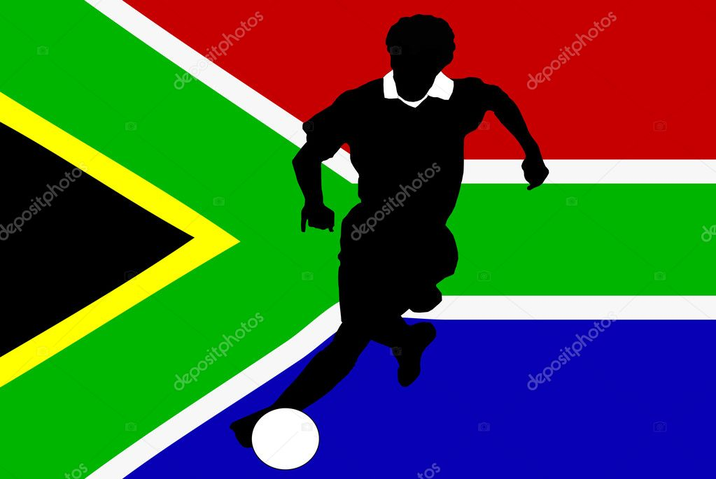 The silhuette a player with the background of the flag of South Africa — Stock Photo #6831031