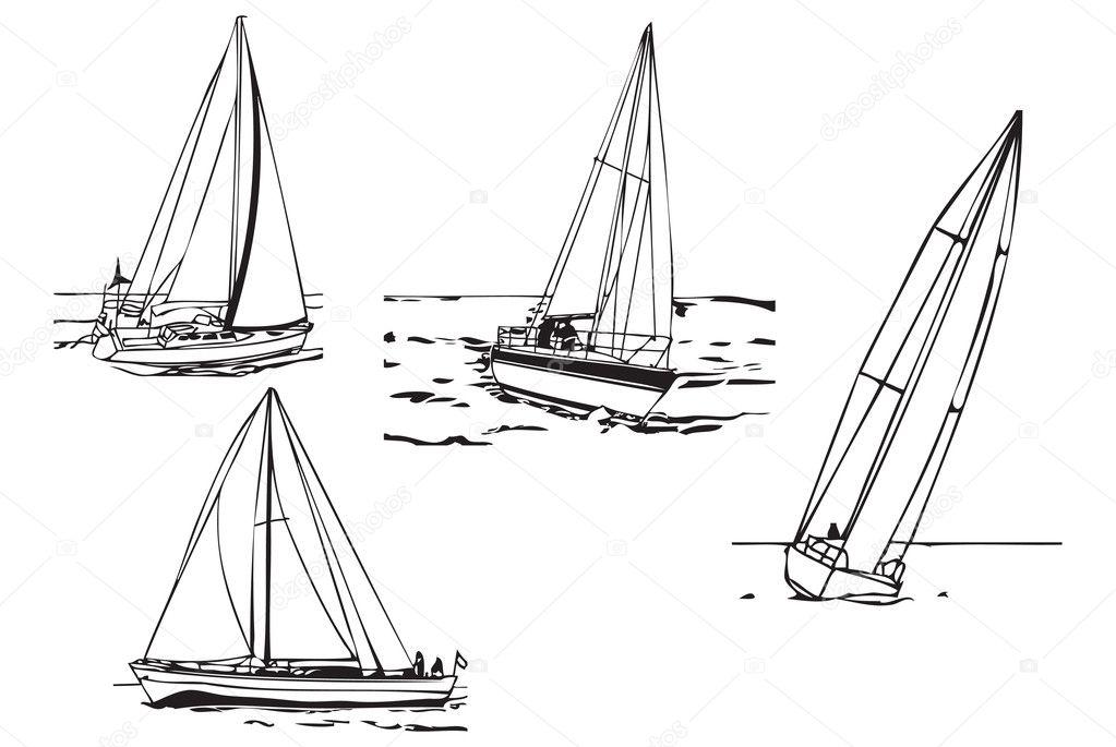 эскизы лодки с парусами