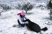 My dog and the snow — Foto de Stock