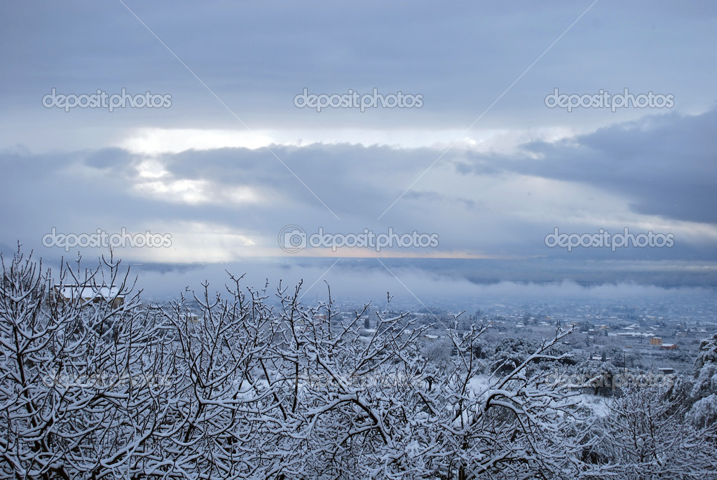 Winter landscape with snow - Rome - Italy  Stock Photo #6924899