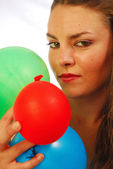 Playing with balloons — Stock Photo