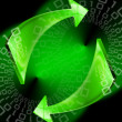 Green arrows background — Stockfoto