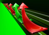 Red and green arrows background — Stock Photo