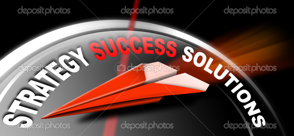 Plane red Paper with written strategy success solutions, a metaphor for success and leadership — Stock Photo #6808029