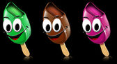 Cartoon colored ice creams with smile — Stock Photo