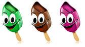 Cartoon gekleurde ijsjes met glimlach — Stockfoto