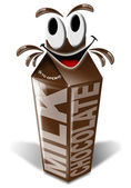 Carton and cartoon chocolate milk — Zdjęcie stockowe