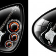 Black guitar plectrum - Foto Stock
