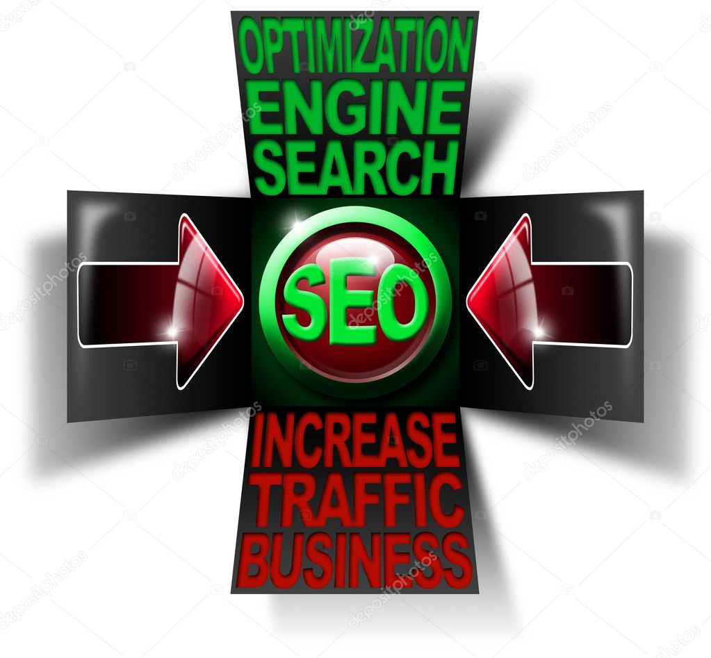 Illustration with open cube, icon SEO, 2 red arrows and written business search engine optimization traffic increase — Stock Photo #6870428
