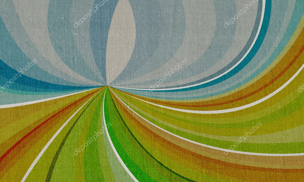 Abstract landscape on canvas with multicolored shapes green, yellow, blue — Stock Photo #6891907