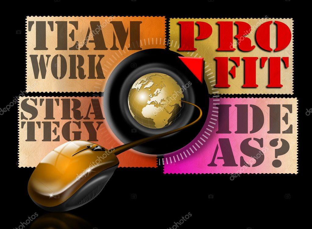 Illustration with mouse, globe and written ideas, teamwork, strategy and profit   Stock Photo #6912162
