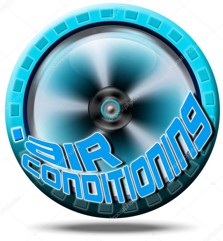 Blue symbol air conditioning with written air conditioning — Stock Photo #6966358
