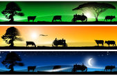Three fantastic countryside landscapes banners — 图库照片