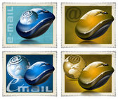 Mouse stamps e-mail — 图库照片