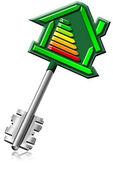 Certyfikacji klucza energii w domu — Zdjęcie stockowe