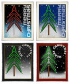 Stamps merry christmas — Stock Photo