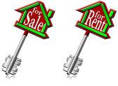 Klíče od domu na prodej a k pronájmu — Stock fotografie