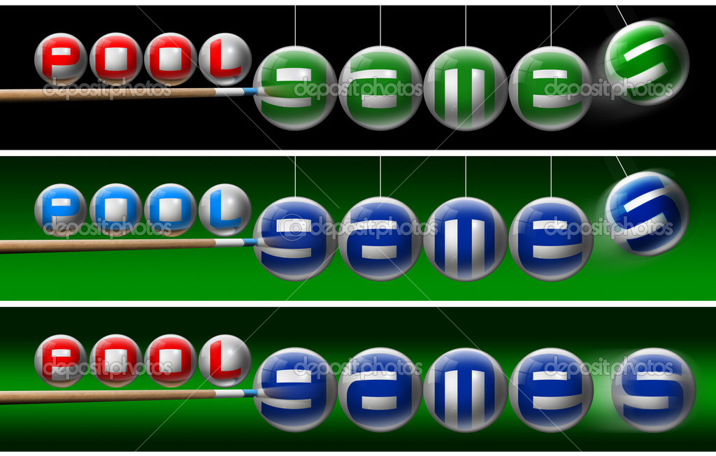 Three illustrations with pool balls, written pool games and one pool cues — Stock Photo #7142662