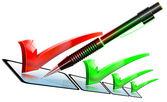 Lista di controllo matita verde e rosso — Foto Stock