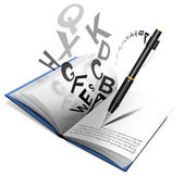 Bok eller anteckningsbok och penna — Stockfoto