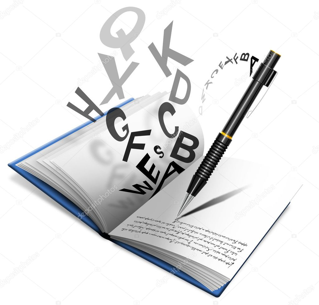 Libro o quaderno con matita che scrive e lettere sparse  Stock Photo #7183558