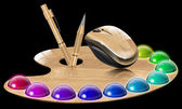 Painter's palette and wood mouse — Stockfoto