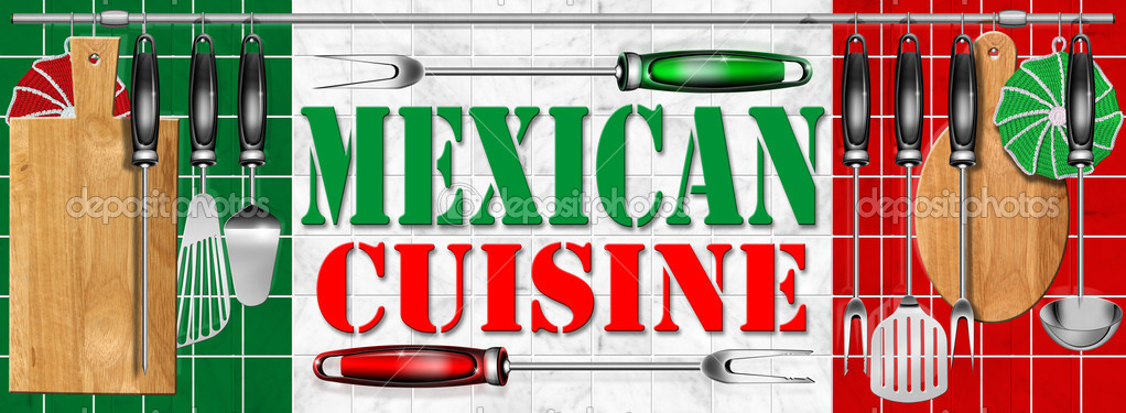 Concept of mexican cuisine with kitchen tools and national flag — Stock Photo #7361234