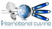 Globe mezinárodní kuchyně — Stock fotografie